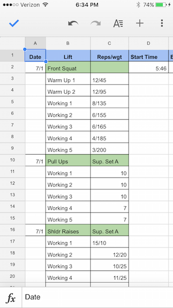 morning workout plan google sheets